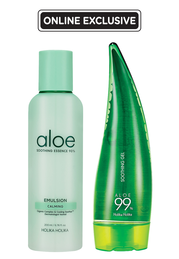 Holika Holika Aloe Soothing Essence 90% Emulsion+ Aloe 99% Soothing Gel (250ml)